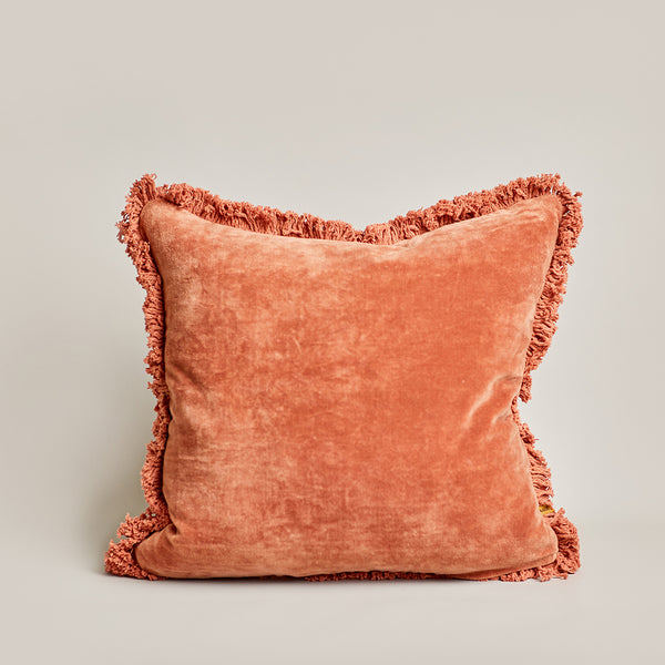 Velvet Square Cushion - Tobacco
