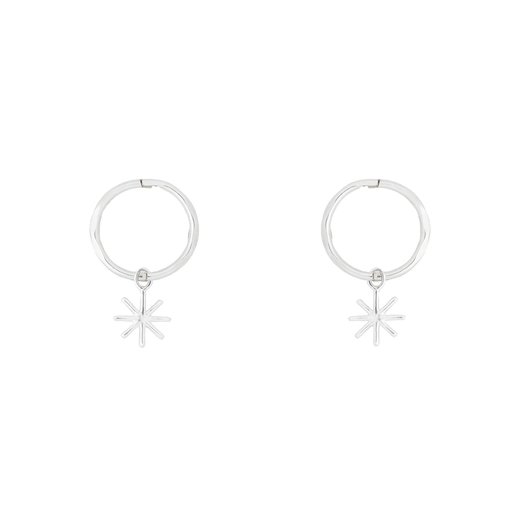 By. G - silver mini starry hoop earrings