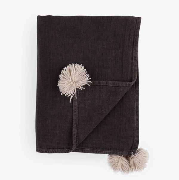 Charcoal Vintage Wash Tassel Throw