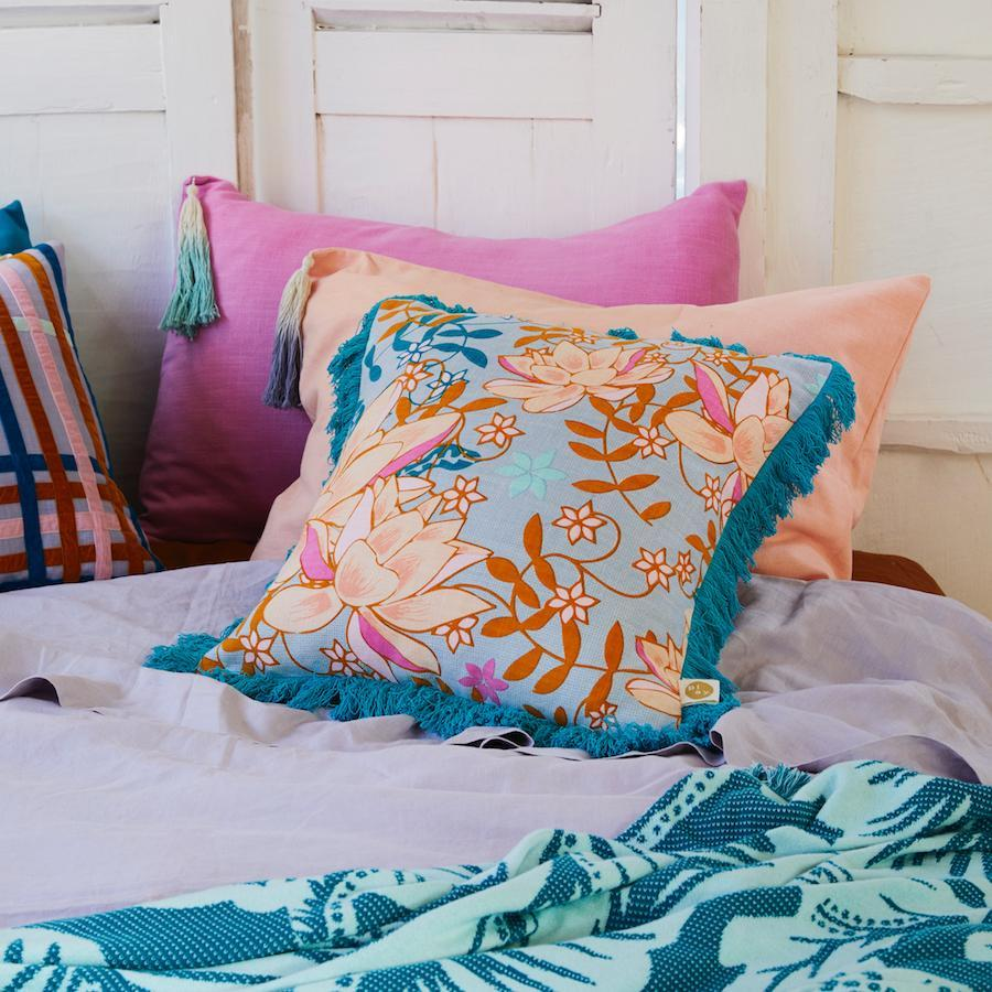 sage and clare - pantai tassel pillowcase in flamingo