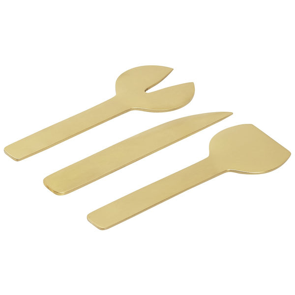GEO 3-piece Cheese Knife Set - Brass