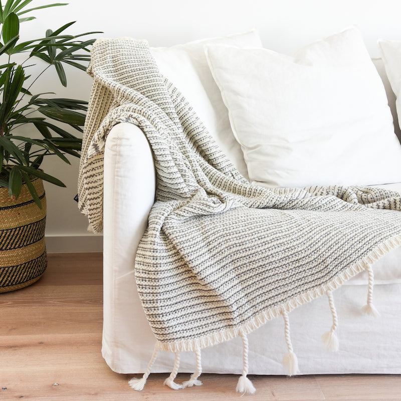 Collective Sol - Mason Waffle Knit throw in Latte