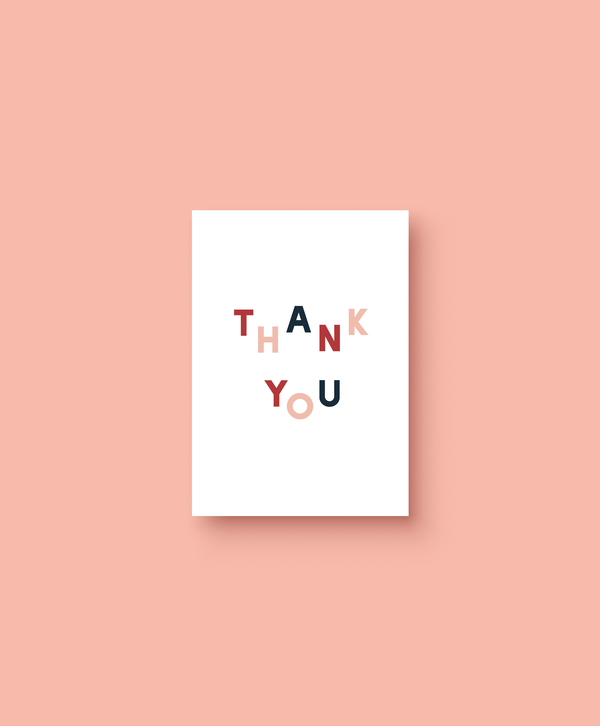OHEMGEE Paper - multi coloured Thank You greetings card