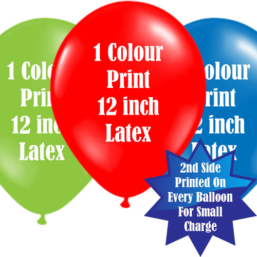 12 Inch Logo Upload Printed Latex Balloons - 1 Ink Colour