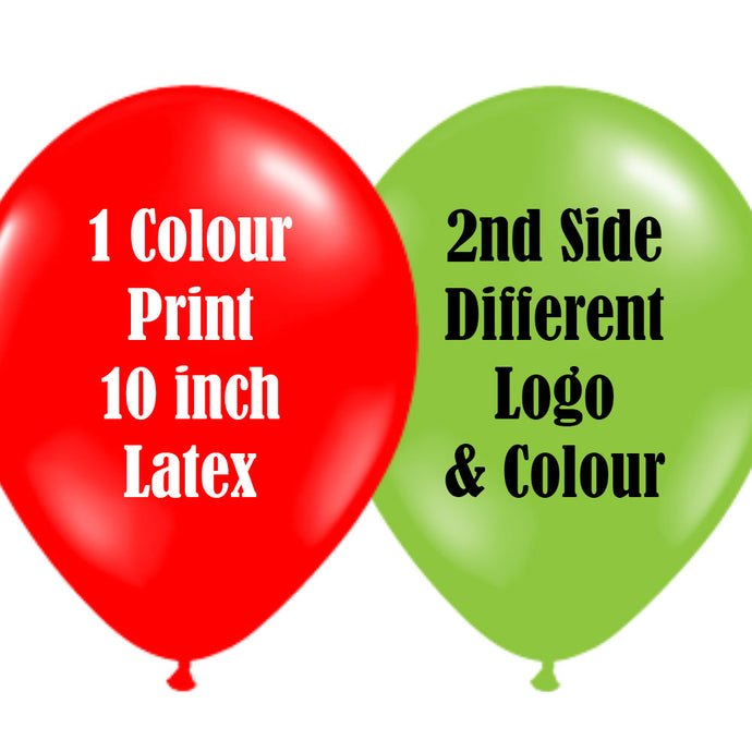 10 Inch Logo Upload Printed Latex Balloons - 1 Ink Colour 2 Sides