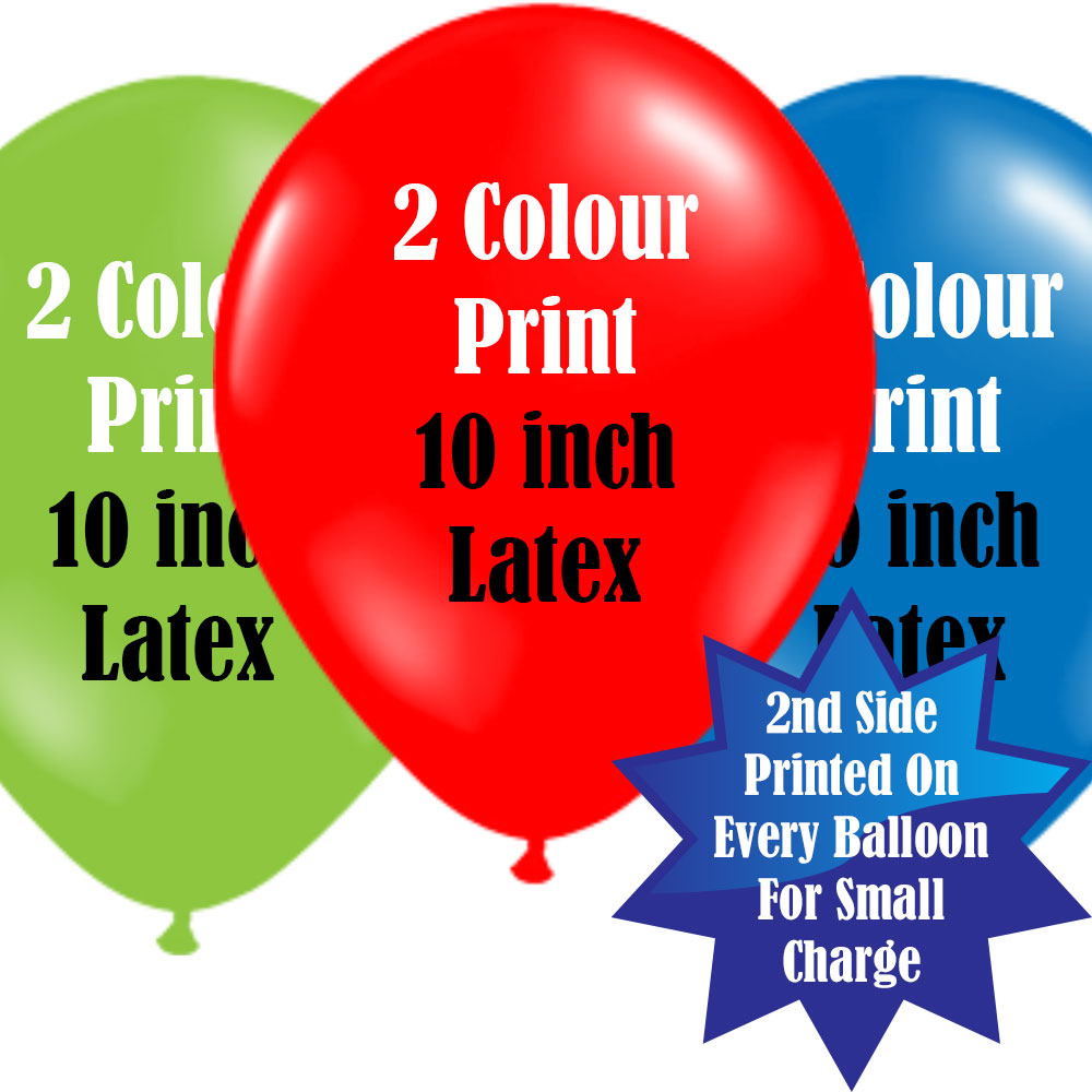 10 Inch Logo Upload Printed Latex Balloons - 2 Ink Colours
