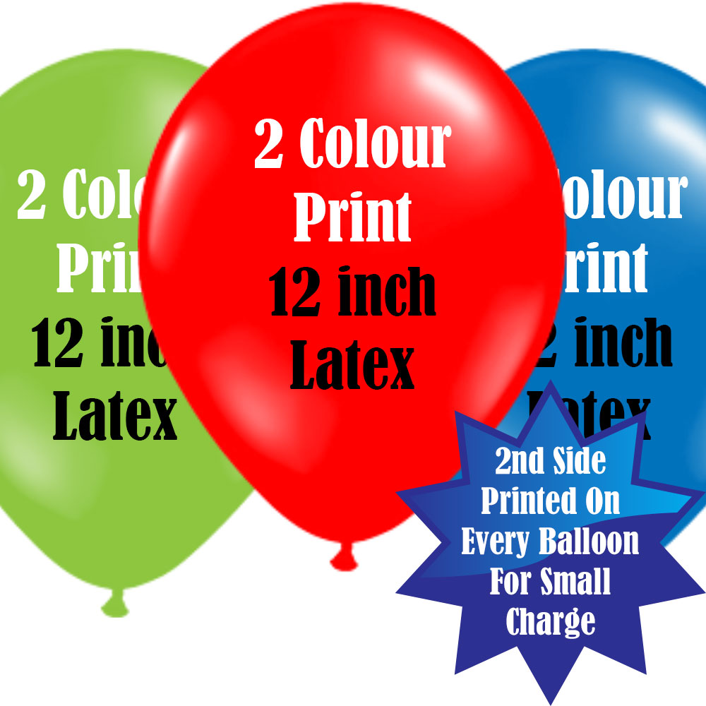 12 Inch Logo Upload Printed Latex Balloons - 2 Ink Colours