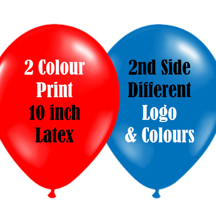 10 Inch Logo Upload Printed Latex Balloons - 2 Ink Colours 2 Sides