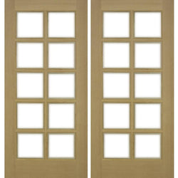 Krosswood 10-Lite Beveled Glass Douglas Fir Double French Door Exterior Doors Krosswood