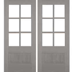 Krosswood 3/4 Lite Beveled Glass Douglas Fir Double Door Exterior Doors Krosswood