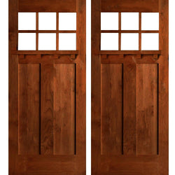 Krosswood Craftsman 6-Lite Beveled Glass with Dentil Shelf Douglas Fir Double Door Exterior Doors Krosswood
