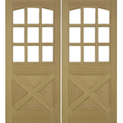 Krosswood Crossbuck Panel Arched 9-Lite Douglas Fir Double Door with Beveled Glass Exterior Doors Krosswood