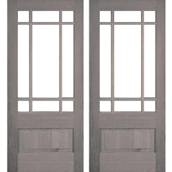 Krosswood Douglas Fir 3/4 Lite Prairie Double Door with Beveled Glass Exterior Doors Krosswood