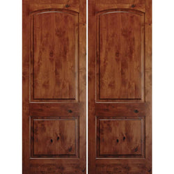 "Krosswood Knotty Alder 1-3/4"" 2 Panel Top Rail Arch Double Doors Exterior Doors Krosswood 48"" Wide x 80"" Tall x 1-3/4"" Thick (4'-0"" W x 6'-8"" H)*"