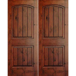 "Krosswood Knotty Alder 1-3/4"" 2 Panel Top Rail Arch w/ V-Grooves Exterior Double Doors Exterior Doors Krosswood 48"" Wide x 80"" Tall x 1-3/4"" Thick (4'-0"" W x 6'-8"" H)*"