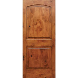 "Krosswood Knotty Alder 1-3/8"" 2 Panel Top Rail Arch Interior Doors Krosswood 18"" Wide x 80"" Tall x 1-3/8"" Thick (1'-6"" W x 6'-8"" H)"
