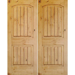 "Krosswood Knotty Alder 1-3/8"" 2 Panel Top Rail Arch with V-Grooves Double Doors Interior Doors Krosswood 36"" Wide x 80"" Tall x 1-3/8"" Thick (3'-0"" W x 6'-8"" H)*"
