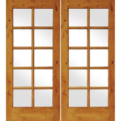 "Krosswood Knotty Alder 10 Lite Exterior French Doors Exterior Doors Krosswood 48"" Wide x 80"" Tall x 1-3/4"" Thick (4'-0"" W x 6'-8"" H)*"