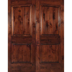 "Krosswood Knotty Alder 2-Panel Common Arch Double Doors Exterior Doors Krosswood 72"" Wide x 80"" Tall x 1-3/4"" Thick (6'-0"" W x 6'-8"" H)*"