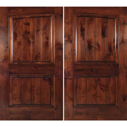 "Krosswood Knotty Alder 2 Panel Common Arch with V-Grooves Double Doors Exterior Doors Krosswood 72"" Wide x 80"" Tall x 1-3/4"" Thick (6'-0"" W x 6'-8"" H)"