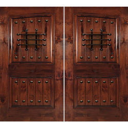 "Krosswood Knotty Alder 2 Panel Common Arch with V-Grooves Double Doors, Speakeasy and Clavos Exterior Doors Krosswood 72"" Wide x 80"" Tall x 1-3/4"" Thick (6'-0"" W x 6'-8"" H)*"