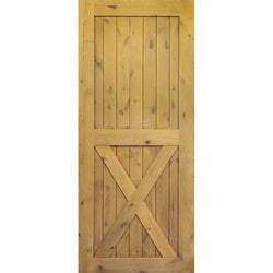 "Krosswood Knotty Alder 2 Panel Single X Solid Wood Core Barn Door Slab Interior Doors Krosswood 24"" Wide x 84"" Tall x 1-3/4"" Thick (2'-0"" W x 7'-0"" H)"