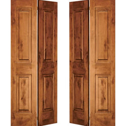 "Krosswood Knotty Alder 2-Panel Square Top Bi-Fold Double Doors Interior Doors Krosswood 48"" Wide x 80"" Tall x 1-3/8"" Thick (4'-0"" W x 6'-8"" H)*"