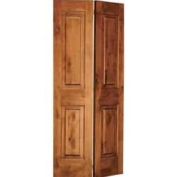 "Krosswood Knotty Alder 2 Panel Square Top Bi-Fold Interior doors Krosswood 30"" Wide x 80"" Tall x 1-3/8"" Thick (2'-6"" W x 6'-8"" H)"