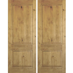 Krosswood Knotty Alder 2 Panel Square Top Double Doors Exterior Doors Krosswood