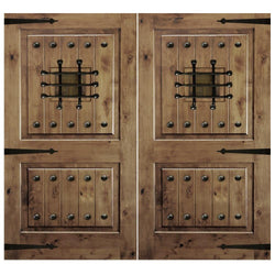 Krosswood Knotty Alder 2 Panel Square Top Double Doors with V-Grooves, Speakeasy, Clavos and Strap Hinges Exterior Doors Krosswood