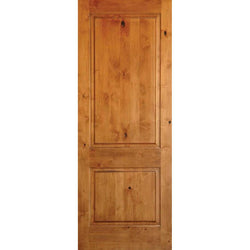 "Krosswood Knotty Alder 2 Panel Square Top Exterior Doors Krosswood 18"" Wide x 96"" Tall x 1-3/4"" Thick (1'-6"" W x 8'-0"" H)"