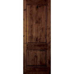 "Krosswood Knotty Alder 2 Panel Square Top Interior Door Interior Doors Krosswood 18"" Wide x 80"" Tall x 1-3/8"" Thick (1'-6"" W x 6'-8"" H)"