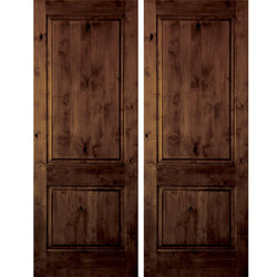 Krosswood Knotty Alder 2 Panel Square Top Interior Double Door Interior Doors Krosswood