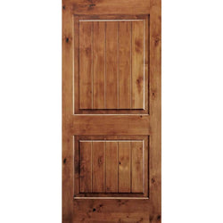"Krosswood Knotty Alder 2 Panel Square Top with V-Groove Interior Doors Krosswood 18"" Wide x 80"" Tall x 1-3/8"" Thick (1'-6"" W x 6'-8"" H)"