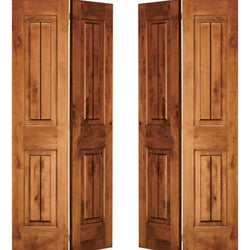 "Krosswood Knotty Alder 2 Panel Square Top with V-Grooves Bi-Fold Double Doors Interior Doors Krosswood 60"" Wide x 80"" Tall x 1-3/8"" Thick (5'-0"" W x 6'-8"" H)"