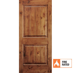 Krosswood Knotty Alder 2 Panel Square Top w/V-Grooves 20 Minute Fire Door Interior Doors Krosswood
