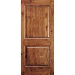 "Krosswood Knotty Alder 2 Panel Square Top w/V-Grooves Exterior Doors Krosswood 18"" Wide x 80"" Tall x 1-3/4"" Thick (1'-6"" W x 6'-8"" H)"