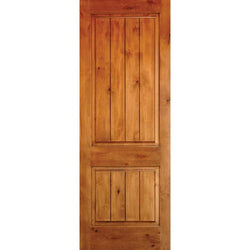 "Krosswood Knotty Alder 2 Panel Square Top w/V-Grooves Exterior Doors Krosswood 24"" Wide x 80"" Tall x 1-3/4"" Thick (2'-0"" W x 6'-8"" H)"