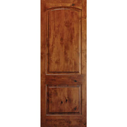 "Krosswood Knotty Alder 2 Panel Top Rail Arch 1-3/4"" Thickness Exterior Doors Krosswood 24"" Wide x 80"" Tall x 1-3/4"" Thick (2'-0"" W x 6'-8"" H)"
