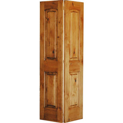 "Krosswood Knotty Alder 2-Panel Top Rail Arch Bi-Fold Interior Doors Krosswood 24"" Wide x 80"" Tall x 1-3/8"" Thick (2'-0"" W x 6'-8"" H)*"