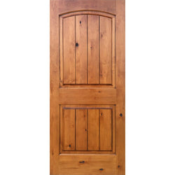 "Krosswood Knotty Alder 2 Panel Top Rail Arch with V-Groove Exterior Doors Krosswood 18"" Wide x 80"" Tall x 1-3/4"" Thick (1'-6"" W x 6'-8"" H)"