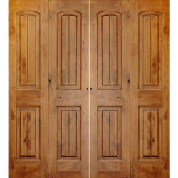"Krosswood Knotty Alder 2 Panel Top Rail Arch with V-Grooves Bi-Fold Double Doors Interior Doors Krosswood 60"" Wide x 80"" Tall x 1-3/8"" Thick (5'-0"" W x 6'-8"" H)*"