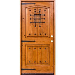 "Krosswood Knotty Alder 2 Panel Top Rail Arch with V-Grooves Door w/Speakeasy Kit, Clavos and Strap Hinges Exterior Doors Krosswood 30"" Wide x 80"" Tall x 1-3/4"" Thick (2'-6"" W x 6'-8"" H)"