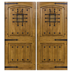 Krosswood Knotty Alder 2 Panel Top Rail Arch with V-Grooves Double Doors + Speakeasy Kit, Clavos and Strap Hinges Exterior Doors Krosswood