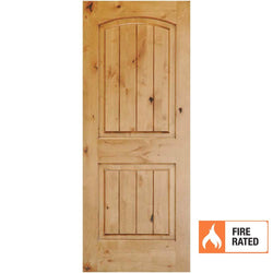 Krosswood Knotty Alder 2 Panel Top Rail Arch w/V-Grooves 20 Minute Fire Door Interior Doors Krosswood
