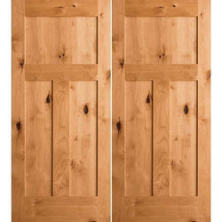 "Krosswood Knotty Alder 3-Panel Craftsman Double Doors Interior Doors Krosswood 36"" Wide x 80"" Tall x 1-3/8"" Thick (3'-0"" W x 6'-8"" H)*"