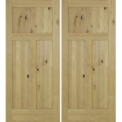 Krosswood Knotty Alder 3 Panel Shaker Double Door Exterior Doors Krosswood
