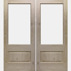 Krosswood Knotty Alder 3/4 Lite Clear Glass Double Exterior Door Exterior Doors Krosswood