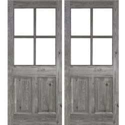 Krosswood Knotty Alder 4 Lite 2 Panel Double Door Exterior Doors Krosswood