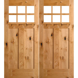 "Krosswood Knotty Alder 6 Lite 2 Panel Craftsman Double Door w/Dentil Shelf Exterior Doors Krosswood 72"" Wide x 80"" Tall x 1-3/4"" Thick (6'-0"" W x 6'-8"" H)*"